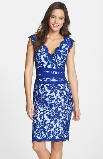 Petite Women's Tadashi Shoji Embroidered Lace Sheath Dress P - Blue