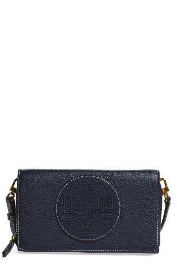 Women's Tory Burch Perforated Leather Wallet Crossbody Bag - Blue