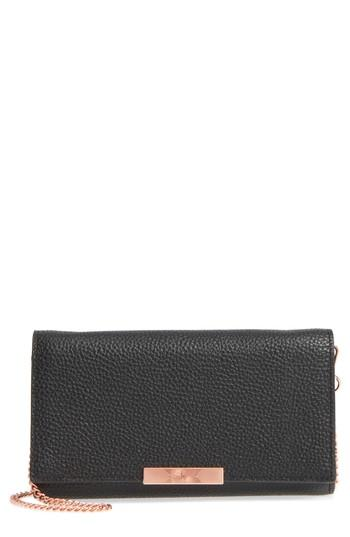Women's Ted Baker London Leather Wallet On A Chain - Black