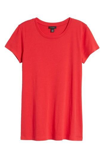 Petite Women's Halogen Short Sleeve Crewneck Tee, Size P - Red