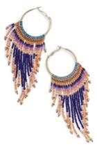 Women's Nakamol Design Beaded Fringe Hoop Earrings