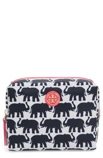 Tory Burch Brigitte Nylon Cosmetics Case, Size - Elephant