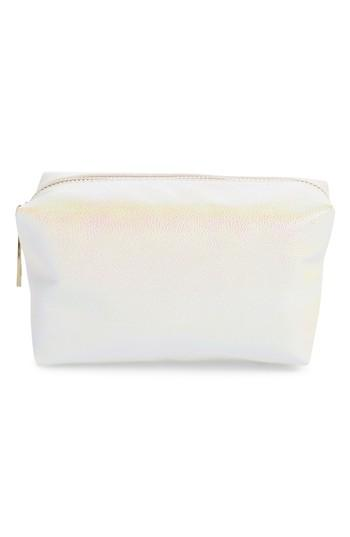 Yoki Bags Iridescent Cosmetics Bag, Size - White