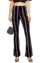 Petite Women's Topshop Stripe Velvet Flare Pants P Us (fits Like 00p) - Black