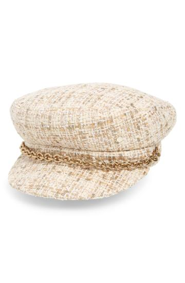 Women's Maison Michel Abby Shiny Tweed Baker Boy Cap - Beige