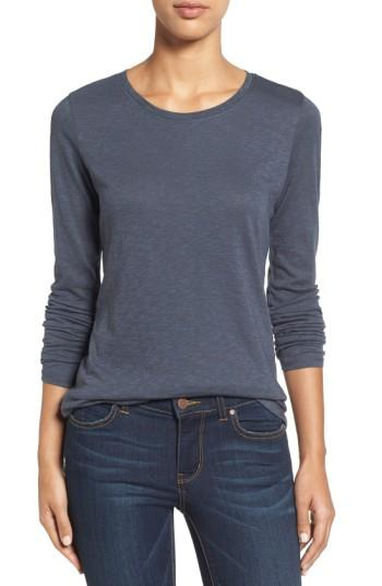 Petite Women's Caslon Long Sleeve Crewneck Tee, Size P - Grey