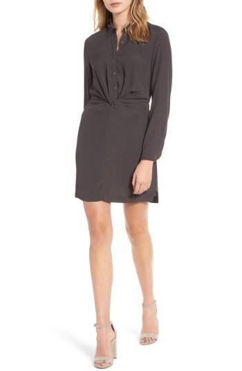 Women's Lush Twisted Shirtdress - Grey