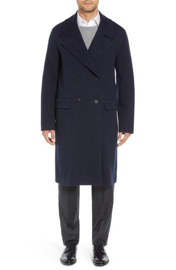 Men's Sanyo Wool Blend Chesterfield Coat - Blue