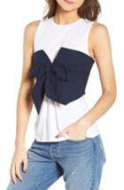 Women's Bp. Tie Front Corset Tee, Size - White