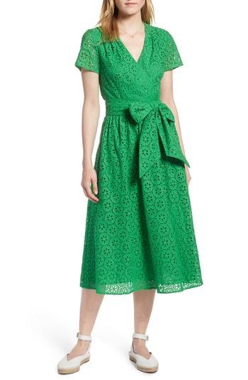 Petite Women's 1901 Cotton Eyelet Short Sleeve Dress P - Green