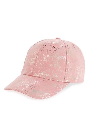 Women's Amici Accessories Metallic Foil Ball Cap - Pink