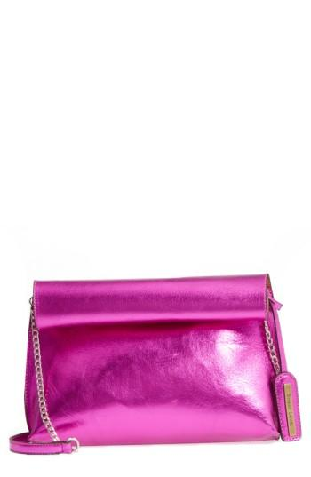 Street Level Rolltop Faux Leather Clutch - Pink
