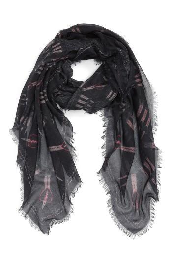 Women's Valentino Loveblade Modal & Cashmere Scarf, Size - Black