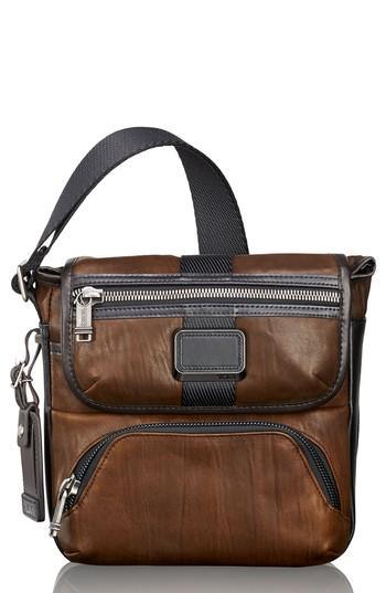 Men's Tumi Alpha Bravo - Barton Leather Crossbody Bag - Brown