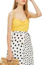 Women's Topshop Cowl Neck Camisole Us (fits Like 0) - Yellow