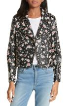 Women's Rebecca Minkoff Wes Floral Leather Moto Jacket - Black