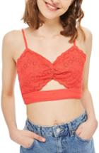 Women's Topshop Broderie Cutout Bralette Us (fits Like 0) - Orange