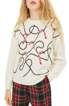 Women's Topshop Candy Cane Sweater Us (fits Like 0) - Ivory