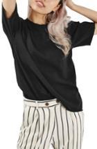 Women's Topshop Distressed Edge Tee Us (fits Like 0) - Black