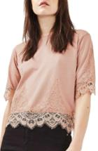 Women's Topshop Lace Trim Tee Us (fits Like 0) - Pink