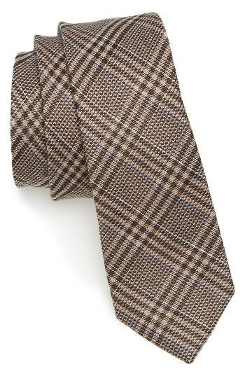 Men's The Tie Bar Columbus Plaid Linen & Silk Tie