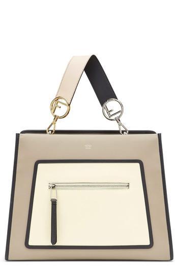 Fendi Runaway Colorblock Leather Tote - Brown
