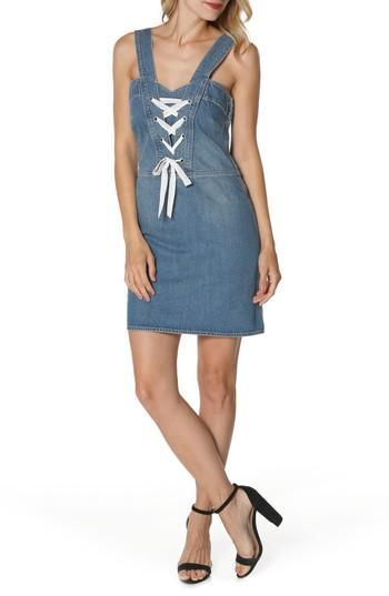 Women's Paige Tula Lace-up Denim Dress - Blue