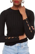 Women's Topshop Popper Crew Sweater Us (fits Like 0) - Black