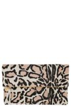Clare V. Genuine Calf Hair Foldover Clutch - Ivory