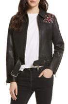 Women's Rebecca Minkoff Washoe Embroidered Leather Jacket - Black