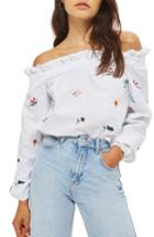 Women's Topshop Embroidered Poplin Off The Shoulder Top Us (fits Like 14) - White
