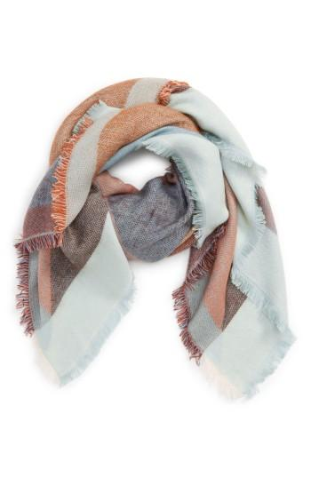 Women's David & Young Geo Square Scarf, Size - Blue