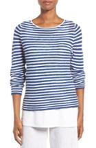 Women's Eileen Fisher Stripe Organic Linen & Cotton Sweater