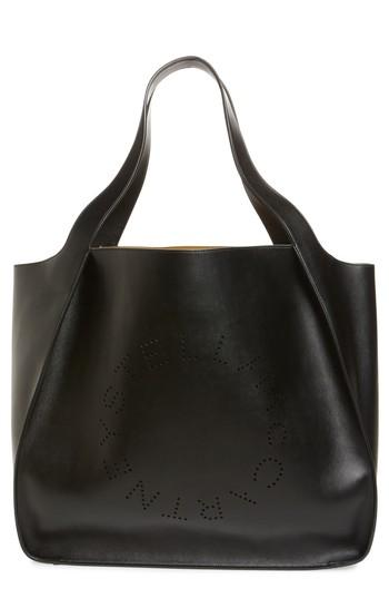 Stella Mccartney Extra Large Perforated Logo Faux Leather Tote - Black