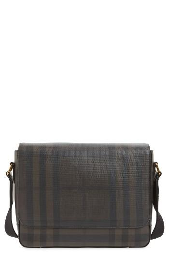 Men's Burberry Edgware Faux Leather Messenger Bag - Brown