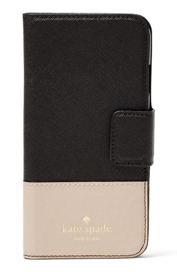 Women's Kate Spade New York Leather Iphone X Case - Black