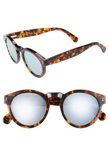 Women's Illesteva 'leonard' 48mm Mirrored Sunglasses - Sienna Tortoise/ Silver Mirror
