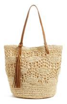 Nordstrom Crochet Straw Tote - Brown