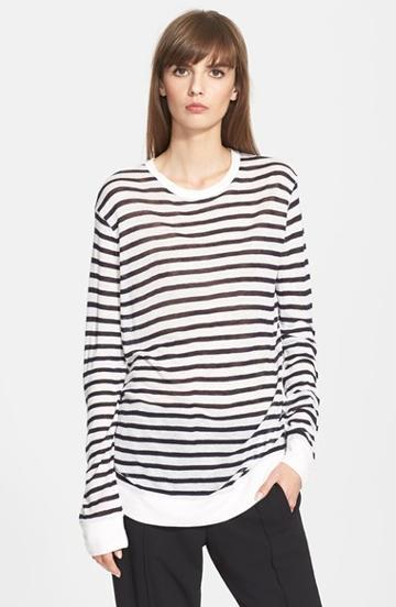 Women's T By Alexander Wang Long Sleeve Stripe Tee