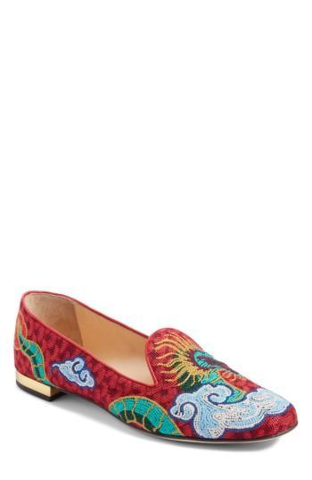 Women's Charlotte Olympia Dragon Slipper Loafer .5 Eu - Red