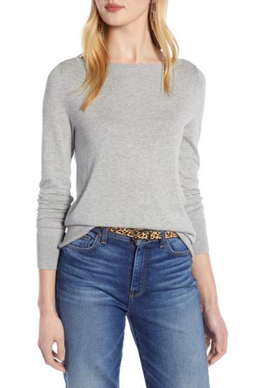Petite Women's Halogen Bateau Neck Sweater P - Grey