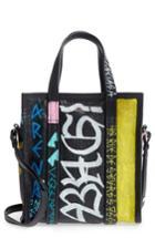 Balenciaga Extra Small Bazar Graffiti Lambskin Shopper - Black