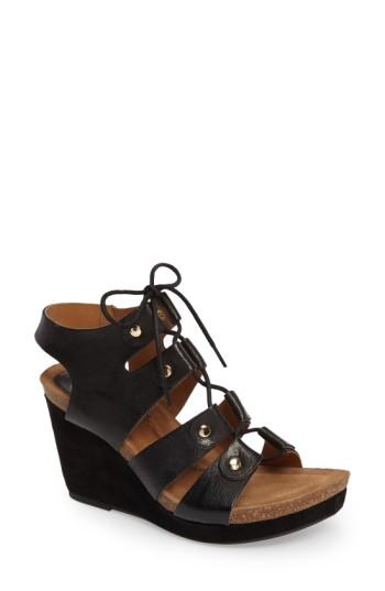 Women's Sofft Carita Lace-up Wedge Sandal .5 M - Black
