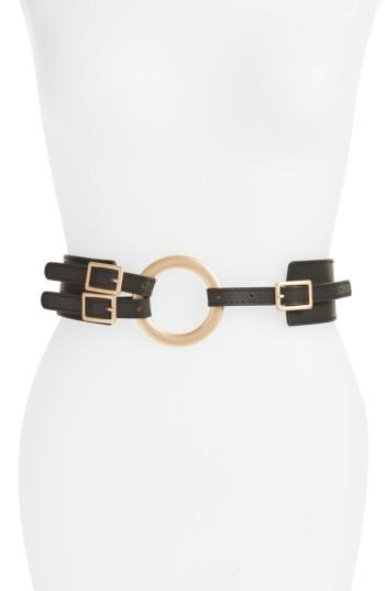 Women's Accessory Collective Round Buckle Faux Leather Belt