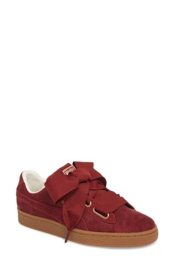 Women's Puma Basket Heart Sneaker M - Burgundy