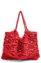 Topshop Macrame Tote Bag - Red