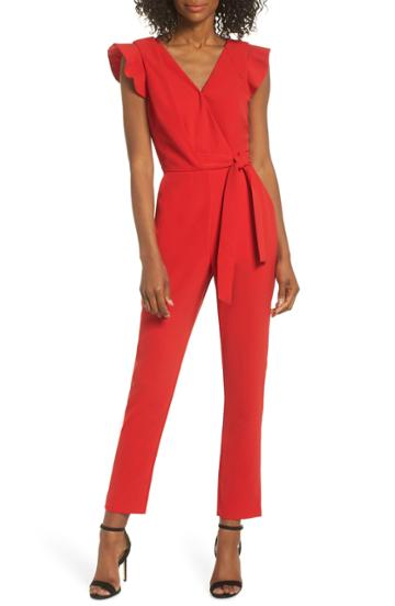 Women's Adelyn Rae Cai Ruffle Cap Sleeve Jumpsuit - Red