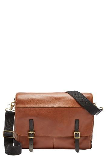Men's Fossil Defender Leather Messenger Bag -