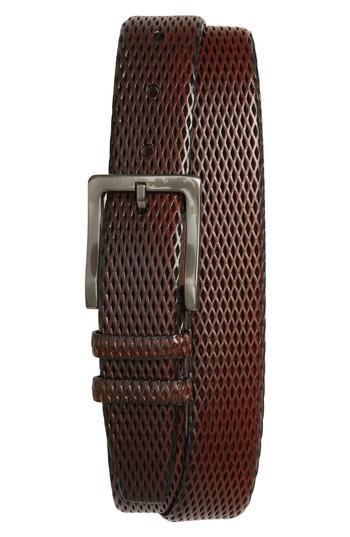Men's Torino Belts Embossed Leather Belt - Mahogany