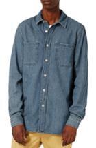 Men's Topman Washed Denim Shirt - Blue